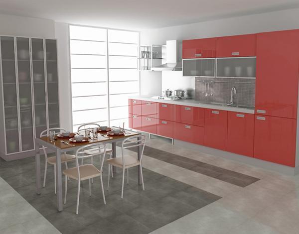 Ostre kolory nowoczesnych mebli kuchennych świetnie komponuje się ze stonowanymi płytkami podłogowymi.