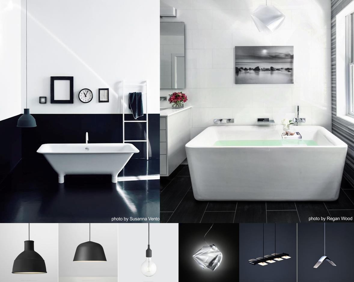 czarne lampy do łazienki