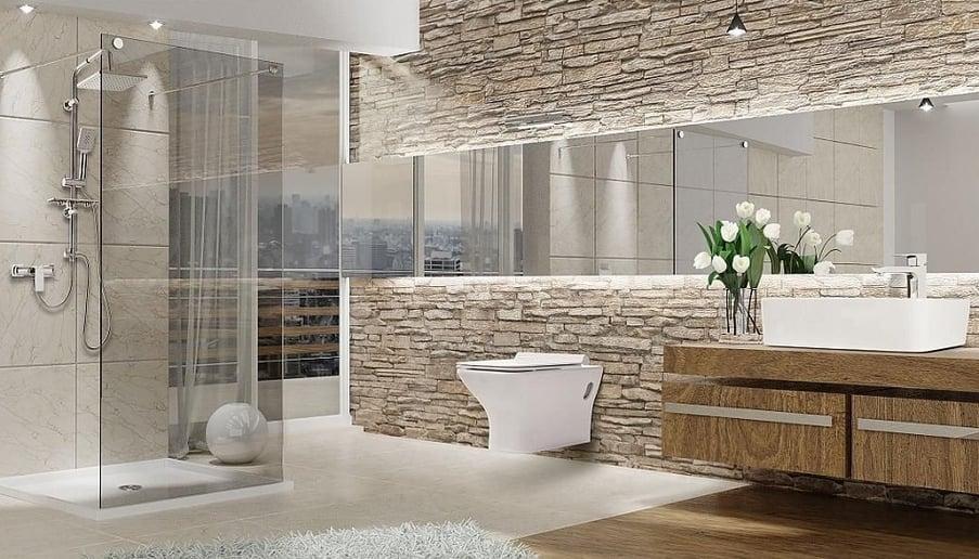 aranżacja łazienki z cegłą