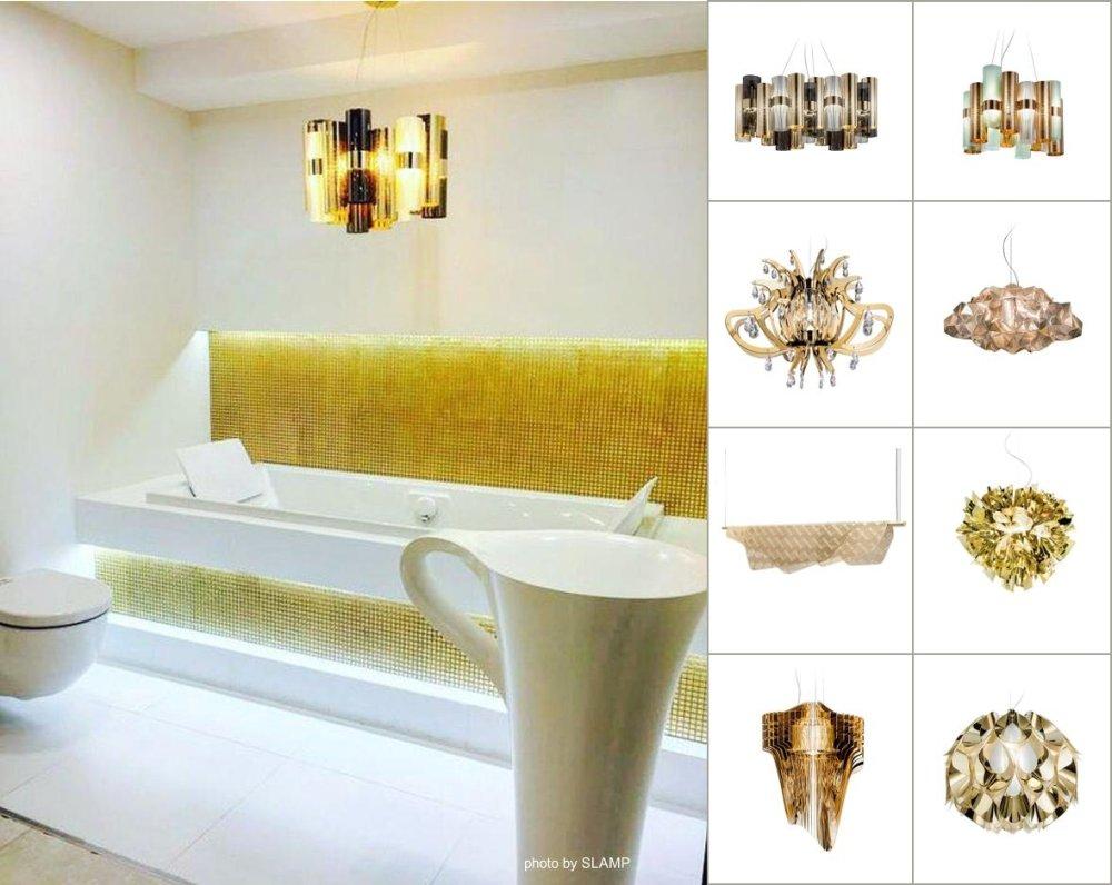 złote oświetlenie do łazienki
