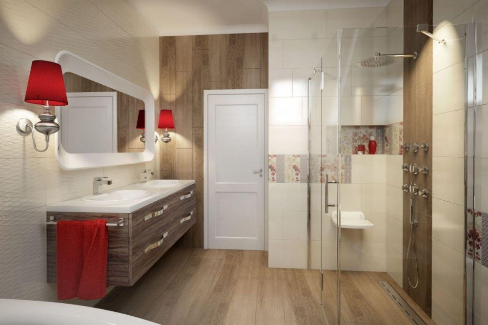Płytki drewnopodobne świetnie komponują się z drewnianymi meblami w łazience