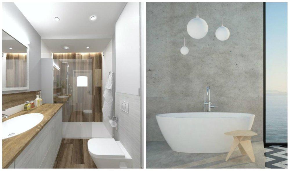 Oświetlenie pod prysznicem i nad wanną wolnostojącą.